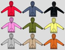 Hoodies. Sweatshirts with hood in nine different colours a garment sketch for textile and fashion industry Royalty Free Stock Image