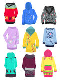 Hoodies. Set of female hoodies isolated on white background Stock Images
