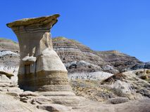 Hoodoo. One of many hoodoos in the Drumheller, Alberta badlands stock images