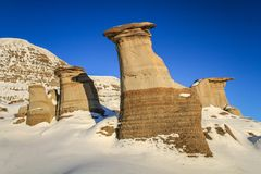 The hoodoos of drumheller during a sunny frosty winter day, drumheller, badlands of Alberta, Alberta, Canada. A hoodoo also called a tent rock, fairy chimney or stock photo