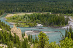 Hoodoo and Bow valley near Banff in the Canadian rockies. Alberta Royalty Free Stock Images