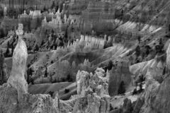 Hoodoo Glow, Bryce Canyon. Black and white image of glowing hoodoo formations, captured in Bryce Canyon National Park, Utah Royalty Free Stock Images