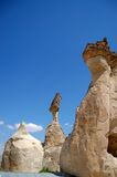 Hoodoo rock formations. Scenic view of hoodoo or fairy chimney rock formations with blue sky background Stock Photos