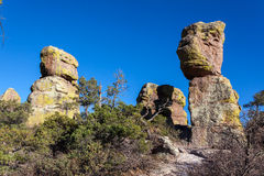 Hoodoo Rock Formations. Rock Formations covered with lichen in Chiracahua mountains in Arizona Royalty Free Stock Photos