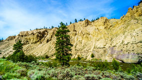 Hoodoos along the Nicola River and Highway 8 between Merritt and Spences Bridge in British Columbia Stock Photo