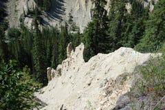 Hoodoos in de bergen bij banff nationaal park Stock Foto