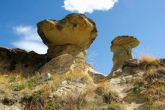Hoodoos in Dinosaur Provincial Park, Alberta. The fast erosion of the slickrock along the Red Deer River in Dinosaur Provincial Park in Alberta has created a stock photos