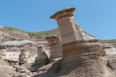 Hoodoos, a geologic formation in the badlands - Alberta, Canada royalty free stock photos