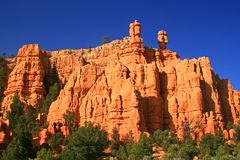 Hoodoos in Red Canyon Utah, Utah. Hoodoos that look like sentinels in Red Canyon Utah, Utah between Zion National Park and Bryce Canyon National Park Royalty Free Stock Image