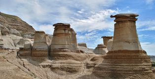 Hoodoos standing in the badland Desert. Million year old Hoodoos that have been formed by the effects of erosion over time Royalty Free Stock Photography