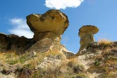 Hoodoos w dinosaura prowincjonału parku, Alberta zdjęcia stock