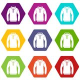 Hoody icon set color hexahedron. Hoody icon set many color hexahedron isolated on white vector illustration Stock Photos