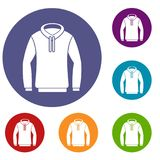 Hoody icons set. In flat circle reb, blue and green color for web Royalty Free Stock Image