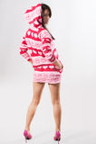 hoody pink för flicka Arkivfoto