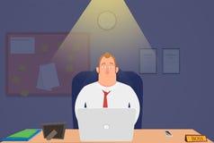 Hoofd bij nachtzitting in het bureau en het werken wordt vermoeid die Illustratie Royalty-vrije Stock Fotografie