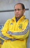 Hoofd bus het team Pavlo Yakovenko van van de Oekraïne (u-21) Stock Foto's