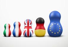 Hoofd de EU-Leden in vorm van het nestelen poppen. Vector. Stock Foto's