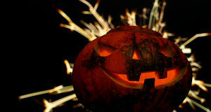 Hoofd de hefboom donkere achtergrond van Halloween met vonken Stock Foto's