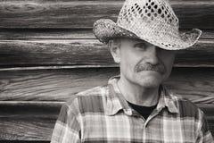 Hoofd en schouderportret van een mens in cowboyhoed Royalty-vrije Stock Foto