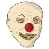 Hoofd enge clown Vector illustratie De kale man glimlacht gele tanden Royalty-vrije Stock Foto's