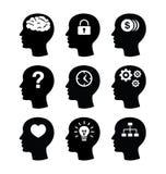 Hoofd geplaatste hersenen vecotr pictogrammen Stock Fotografie