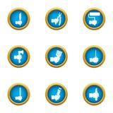 Hoofd geplaatste pictogrammen, vlakke stijl Stock Foto's