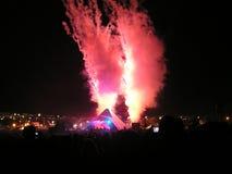 Hoofd het stadiumpyrotechniek 2007 van het Glastonburyfestival Stock Foto's