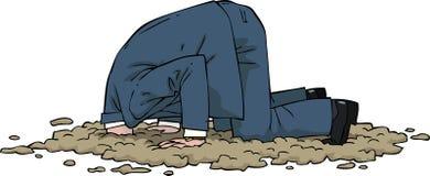 Hoofd in het zand stock illustratie