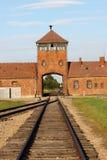 Hoofd ingang aan Auschwitz Royalty-vrije Stock Afbeeldingen