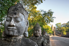 Hoofd ingang van Angkor Thom, Kambodja Royalty-vrije Stock Foto