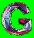 Hoofd Latijnse brief G in lage polystijl rode die kleur op groene achtergrond wordt geïsoleerd Stock Afbeelding