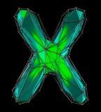 Hoofd Latijnse brief X in lage polystijl groene die kleur op zwarte achtergrond wordt geïsoleerd Stock Foto