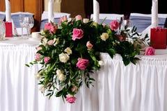 Hoofd lijst bij verfraaide huwelijksontvangst royalty-vrije stock foto's