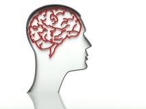Hoofd met hersenen op witte achtergrond, tekstruimte royalty-vrije illustratie
