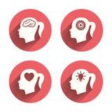 Hoofd met hersenenpictogram Vrouwelijke vrouwensymbolen Royalty-vrije Stock Fotografie