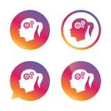 Hoofd met het pictogram van het toestellenteken Vrouwelijk vrouwenhoofd Stock Fotografie