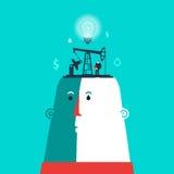 Hoofd met ideeënfabriek en de bedrijfsmens Royalty-vrije Stock Afbeelding