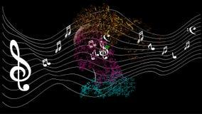 Hoofd met notamuziek Stock Foto's