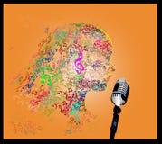 Hoofd met notamuziek Stock Foto