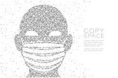 Hoofd met Stofteken of corpusculair het pixelpatroon van de ademhalingsapparaat Abstract Geometrisch Vierkant doos, Verontreinigi stock illustratie