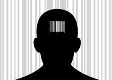Hoofd met streepjescode op zijn rug. Stock Foto