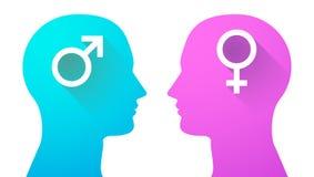 Hoofd met vrouwelijke en mannelijke tekens wordt geplaatst dat Stock Afbeelding