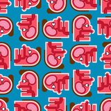 Hoofd naadloos Anatomiepatroon Achtergrond van de beeldverhaal de Interne regeling Hersenen en oog Smaakpapillenornament De textu vector illustratie