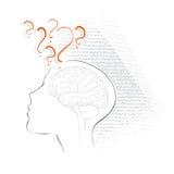 Hoofd pictogram, het denken, het vragen, het hasitating royalty-vrije illustratie