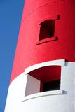Hoofd rode en witte vuurtoren op Portland dichtbij Weymouth in Dorse Royalty-vrije Stock Foto
