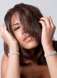 Hoofd Schot van Model met Haar over Gezicht Royalty-vrije Stock Foto's