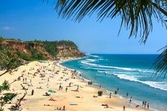 Hoofd strand in Varkala, Kerala stock foto's