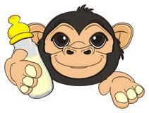Hoofd van aap met een drank Royalty-vrije Stock Afbeelding