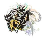 Hoofd van de Grunge het ongebruikelijke draak Stock Foto