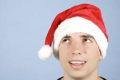 Hoofd van de mens die van de Kerstman omhoog kijkt Royalty-vrije Stock Fotografie